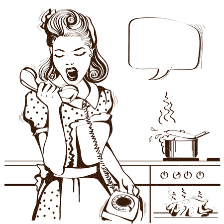 casalinga che grida al telefono in cucina. Illustrazione grafica vettoriale con nuvoletta per il testo Vettoriali