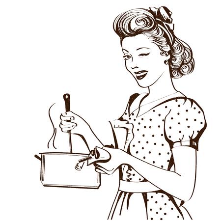 Retro giovane donna in abiti retrò che cucina la zuppa nella sua cucina room.Vector graphic illustration