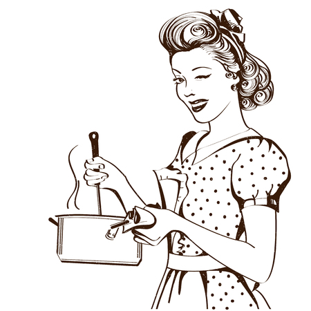 Retro young woman in retro clothes cooking soup in her kitchen room.Vector graphic illustration