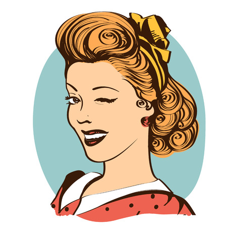 Winking young woman in retro clothes.Vector vintage portrait isolated on white Illusztráció