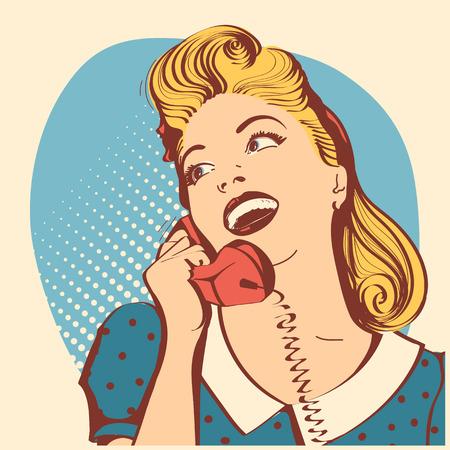 Retro, mujer joven, con, largo, pelo rubio, hablar, phone., Vector, arte pop, color, ilustración Ilustración de vector