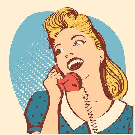 Retro young woman with long blond hair talking on phone.Vector pop art color illustration Illustration