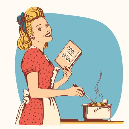 Retro młoda kobieta w czerwonej staromodnej sukience gotowanie zupy w swoim pokoju kuchennym. Ilustracja w stylu Reto