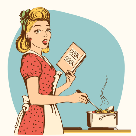 Young woman cooking soup in her kitchen room.Reto color style poster
