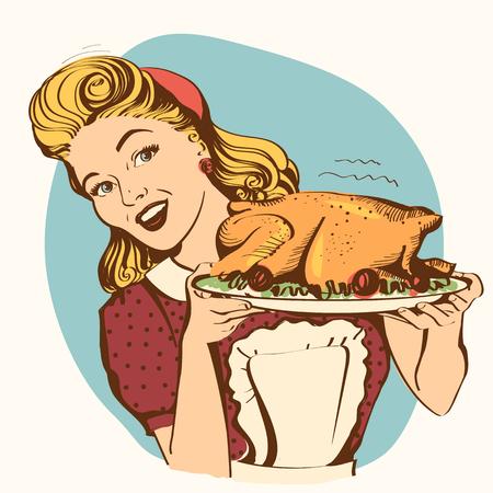 Retro casalinga sorridente cuochi tacchino arrosto in cucina. Illustrazione di colore vettoriale isolato su bianco Vettoriali