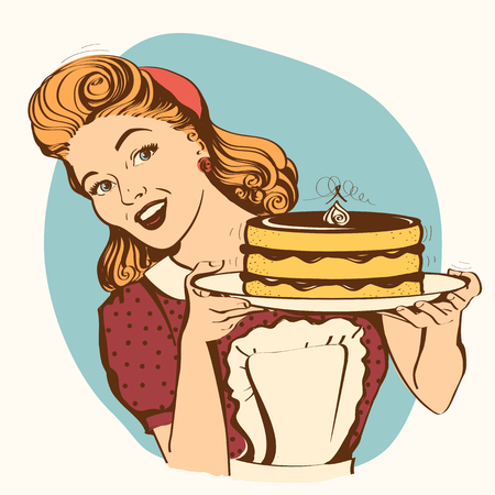 Retro smiling housewife holding big cake in her hands.Vector color illustration isolated on white