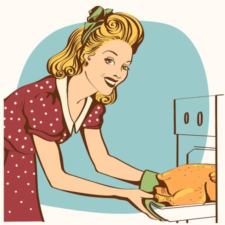 Ritratto di giovane casalinga in abito rosso retrò che cucina pollo arrosto in un forno. Cucina retrò interior