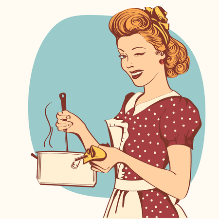 Retro young woman in retro clothes cooking soup in her kitchen room.Vector color illustration