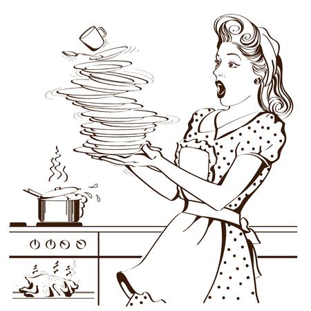 La casalinga goffa con i vestiti retrò lascia cadere i piatti e trascurato il pollo arrosto in un forno.Illustrazione grafica vettoriale
