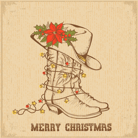 Western Christmas greeting card with cowboy traditional boots and cowboy hat on old paper background