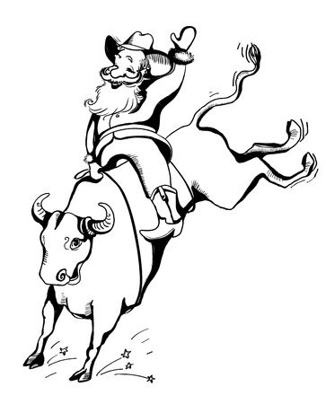 Cowboy rider on the bull Rodeo. Christmas hand drawn illustration isolated on white.