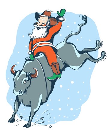Cowboy Santa rider on the bull Rodeo. Christmas hand drawn color illustration isolated on white.