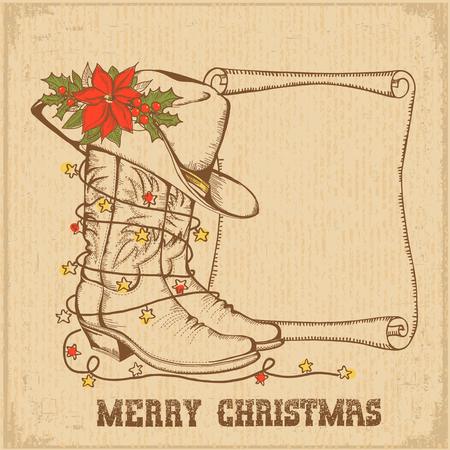 Western Christmas greeting card with cowboy traditional boots and scroll for text