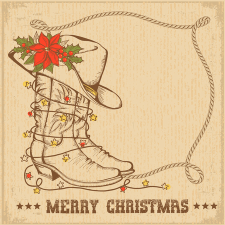 Western Christmas greeting card with cowboy traditional boots and lasso frame for text