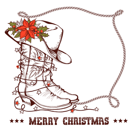 Western Christmas greeting card with cowboy traditional boots and lasso frame for text isolated on white