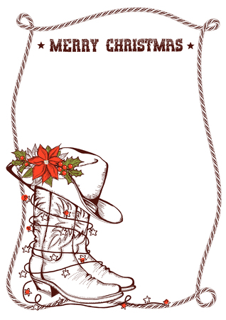 Western Christmas greeting card with cowboy traditional boots and lasso frame for text isolated on white Illustration