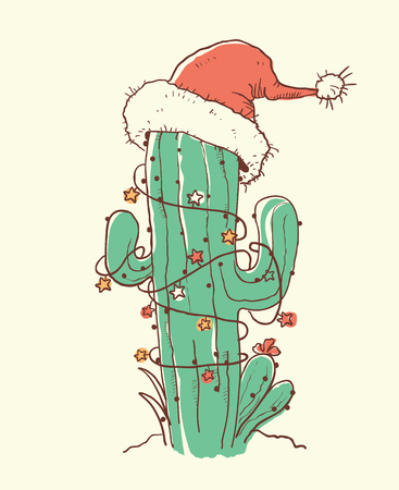Cactus christmas red Santa hat .Vector color hand drawn illustration isokated Ilustracja