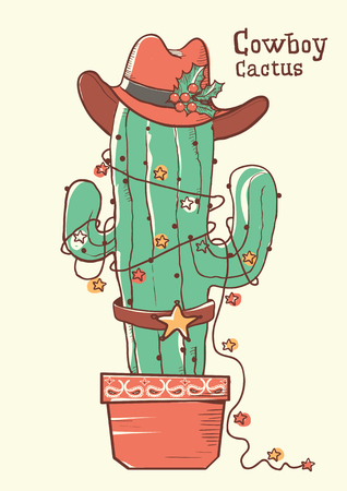 Cactus christmas with cowboy hat .Vector color hand drawn illustration