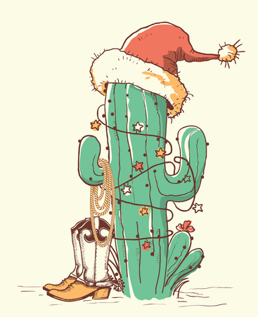 Boże Narodzenie kaktusów w czerwonym kapeluszu Świętego Mikołaja i kowbojskich butach. Ręcznie rysowane ilustracja kolor wektor isokated