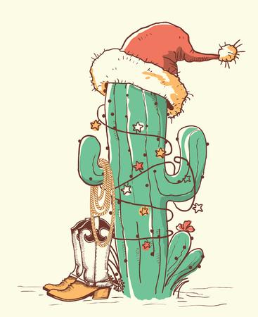 Kaktus-Weihnachten in roter Weihnachtsmütze und Cowboy-Schuhen. Gezeichnete Illustration der Vektorfarbe Hand isokated