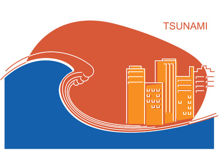 Tsunami and big city.Vector flat line illustration color illustration background Иллюстрация