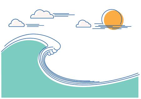 Big ocean wave.Vector flat line color background Illustration