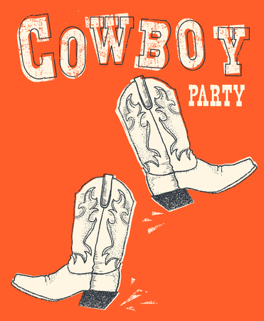 Cowboy western boot on red background.Vector hand drawn graphic illustration for text