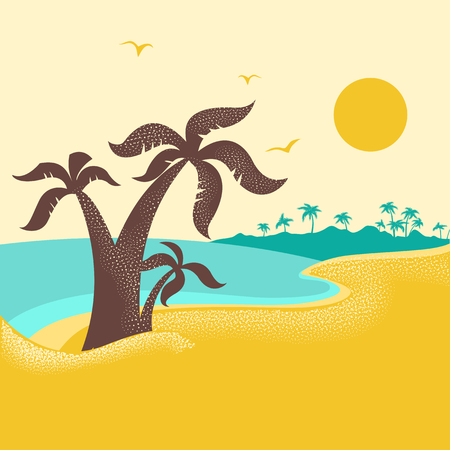 tropical island with palms .Vector poster nature seascape with blue ocean waves background
