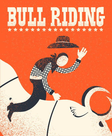 Bull riding poster.Vector American bull riding chempion on red background illustration with text Illustration