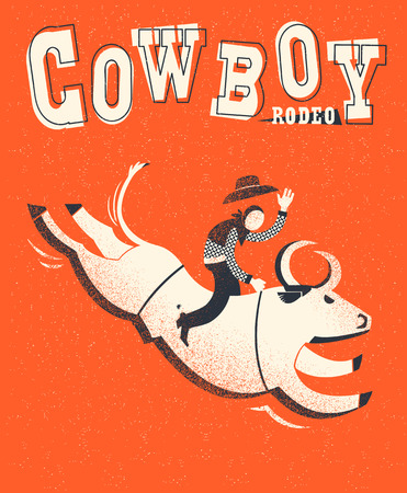 Bull riding.Vector American bull riding chempion on red background illustration with text Illustration
