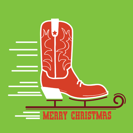 Cowboy Merry Christmas card .Cowboy ice skate boot illustration with text on green background 向量圖像