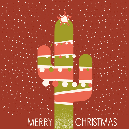Merry Christmas cactus illustration with garland and text on red background Illustration
