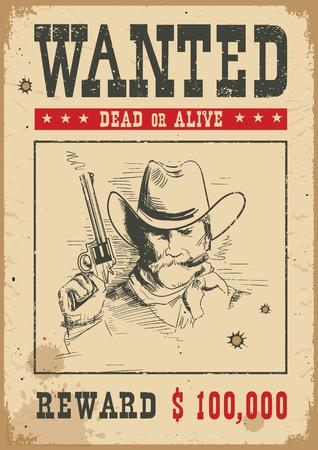 Priorità bassa del manifesto voluto. Illustrazione occidentale di vettore con uomo bandito e pistola