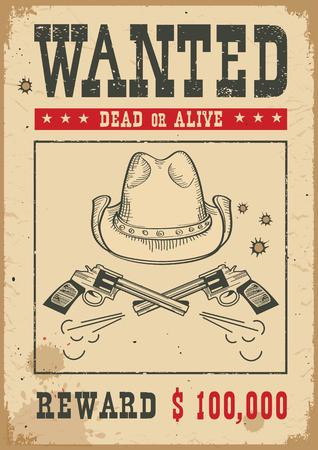 Wanted poster for portrait .Western vintage paper with cowboy hat and guns Ilustração