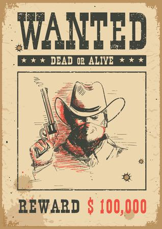 Steckbrief Hintergrund. Vektorwestliche Illustration mit Banditenmann in der Maske, die eine Waffe hält