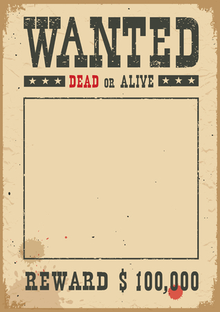 Wanted poster for portrait .Western vintage paper for design on white background