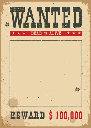 Poster ricercato per ritratto. Carta vintage occidentale per il design su sfondo bianco