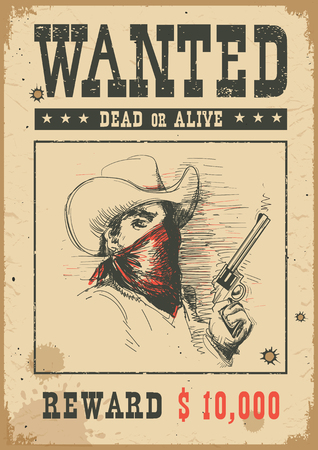 Wanted poster background. Vector western illustration with bandit man in mask holding a gun