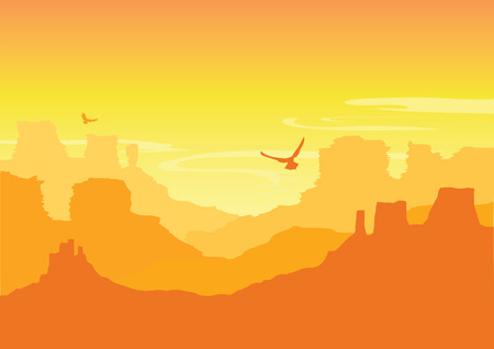 American canyons. Grand Canyon National park. Wild West desert landscape with hot yellow sky  イラスト・ベクター素材
