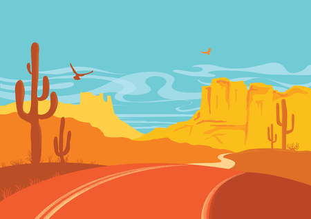 American road in desert in sun day with blue sky. Vector Arizona prairie landscape with cactuses Иллюстрация
