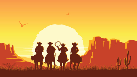 Cowboys riding horses at sunset. Vector prairie landscape desert with sun Illustration