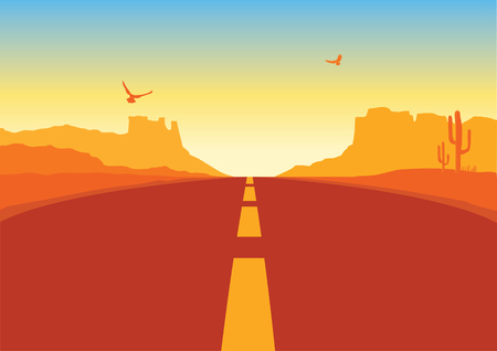 American road in desert nature background. Vector Arizona prairie landscape with mountains