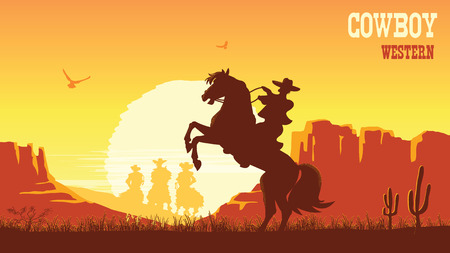 Cowboy riding horse at sunset. Vector prairie landscape desert with sun