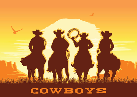 Cowboys silhouette riding horses at sunset landscape. Vector prairie desert with sun and sky