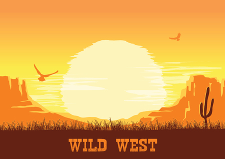 Western American desert nature background. Vector  prairie landscape with cactuses and space for text