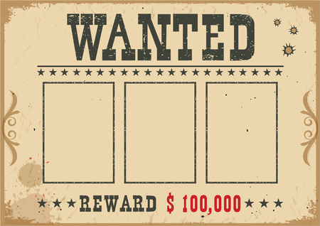 Wanted poster.Vector western old vintage illustration with text and space for portraits