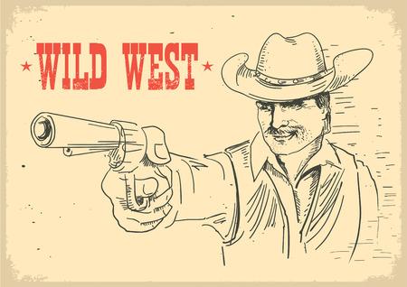 man in cowboy hat holding gun. Gunslinger wild west old poster