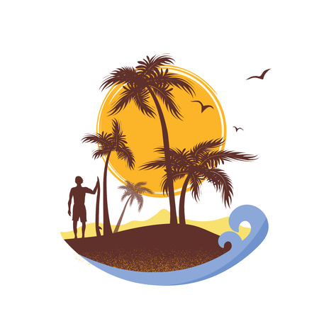 Surfer and sea waves tropical island.Vector poster on vintage background  イラスト・ベクター素材