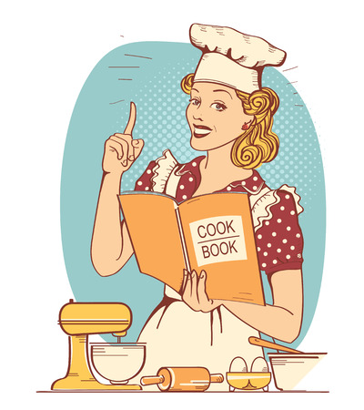Young woman chef in retro style clothes cooking and holding cook book in her hand in the kitchen room