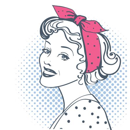 Young retro woman portrait with vintage clothes. Vector pop art illustration isolated on white Illusztráció